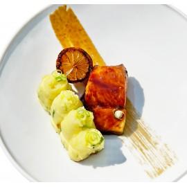Skrei de Norvège soja, écrasé de pommes de terre, citron bio grillé